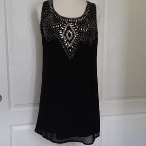 Angie Black Sleeveles Sheer Dress with Bead Detail
